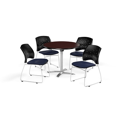 OFM 42 Round Flip Top Mahogany Table with Four Navy Chairs (PKG-BRK-166-0035)