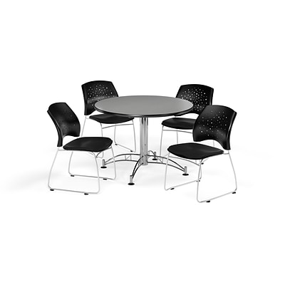 OFM 42 Round Multi-Purpose Gray Nebula Table with Four Black Chairs (PKG-BRK-168-0032)
