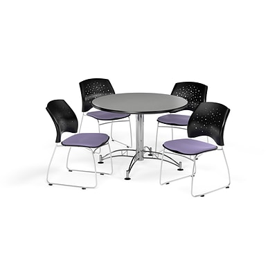 OFM 42 Round Multi-Purpose Gray Nebula Table with Four Lavender Chairs (PKG-BRK-168-0018)