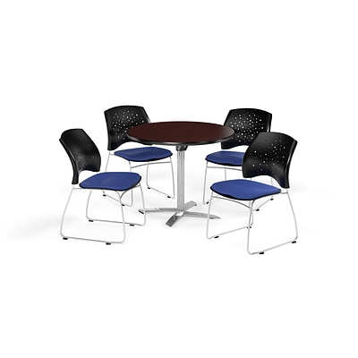 OFM 42 Round Flip Top Mahogany Table with Four Royal Blue Chairs (PKG-BRK-166-0042)