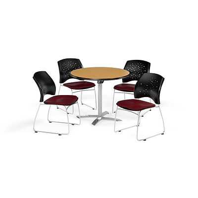 OFM 42 Round Flip Top Oak Table with Four Burgundy Chairs (PKG-BRK-166-0059)
