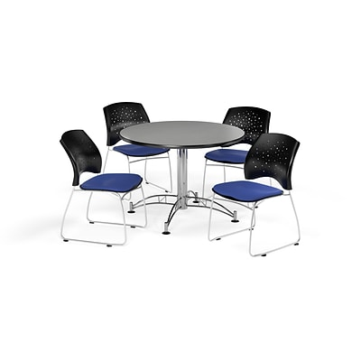 OFM 42 Round Multi-Purpose Gray Nebula Table with Four Royal Blue Chairs (PKG-BRK-168-0026)