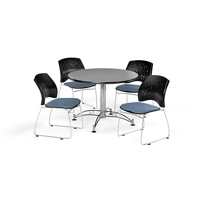 OFM 42 Round Multi-Purpose Gray Nebula Table with Four Cornflower Blue Chairs (PKG-BRK-168-0022)