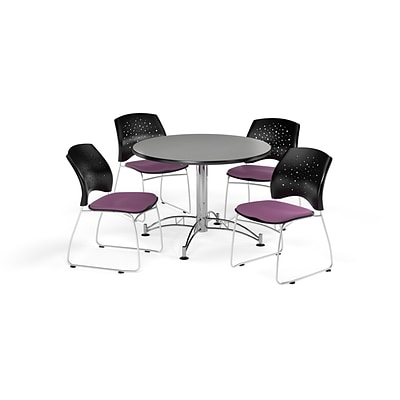 OFM 42 Round Multi-Purpose Gray Nebula Table with Four Plum Chairs (PKG-BRK-168-0029)