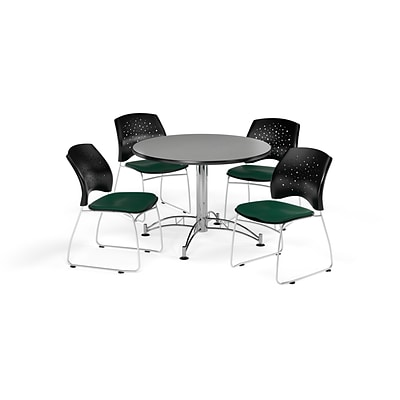 OFM 42 Round Multi-Purpose Gray Nebula Table with Four Forest Green Chairs (PKG-BRK-168-0031)