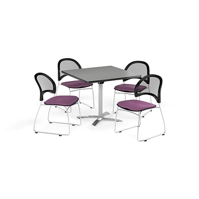OFM 36 Square Flip Top Gray Nebula Table with Four Plum Chairs (PKG-BRK-170-0029)