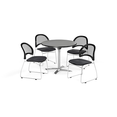 OFM 36 Round Flip Top Gray Nebula Table with Four Slate Gray Chairs (PKG-BRK-169-0028)