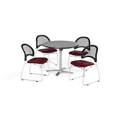 OFM 36 Round Flip Top Gray Nebula Table with Four Burgundy Chairs (PKG-BRK-169-0027)
