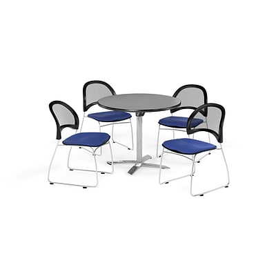 OFM 36 Round Flip Top Gray Nebula Table with Four Royal Blue Chairs (PKG-BRK-169-0026)