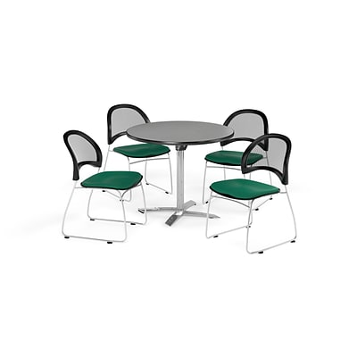 OFM 36 Round Flip Top Gray Nebula Table with Four Shamrock Green Chairs (PKG-BRK-169-0017)