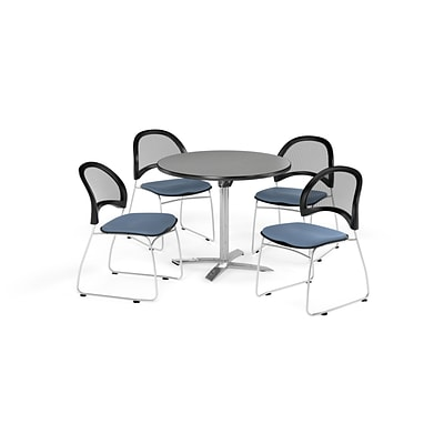 OFM 42 Round Flip Top Gray Nebula Table with Four Cornflower Blue Chairs (PKG-BRK-171-0022)