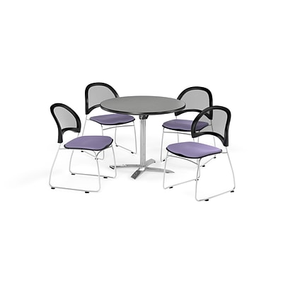 OFM 42 Round Flip Top Gray Nebula Table with Four Lavender Chairs (PKG-BRK-171-0018)