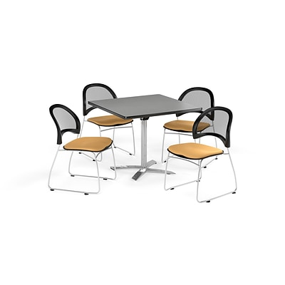 OFM 42 Square Flip Top Gray Nebula Table with Four Golden Flax Chairs (PKG-BRK-172-0021)