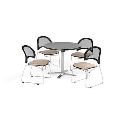 OFM 42 Round Flip Top Gray Nebula Table with Four Khaki Chairs (PKG-BRK-171-0025)