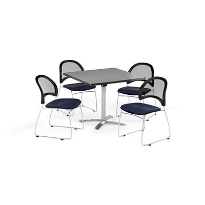 OFM 42 Square Flip Top Gray Nebula Table with Four Navy Chairs (PKG-BRK-172-0019)