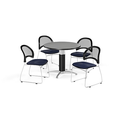 OFM 36 Round Mesh Base Gray Nebula Table with Four Navy Chairs (PKG-BRK-173-0019)