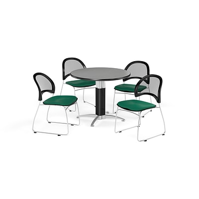 OFM 36 Round Mesh Base Gray Nebula Table with Four Shamrock Green Chairs (PKG-BRK-173-0017)