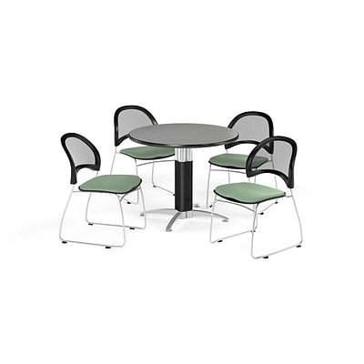 OFM 36 Round Mesh Base Gray Nebula Table with Four Sage Green Chairs (PKG-BRK-173-0023)