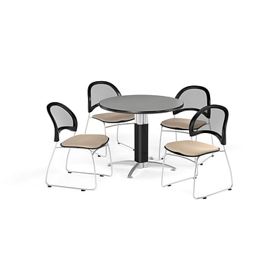 OFM 36 Round Mesh Base Gray Nebula Table with Four Khaki Chairs (PKG-BRK-173-0025)