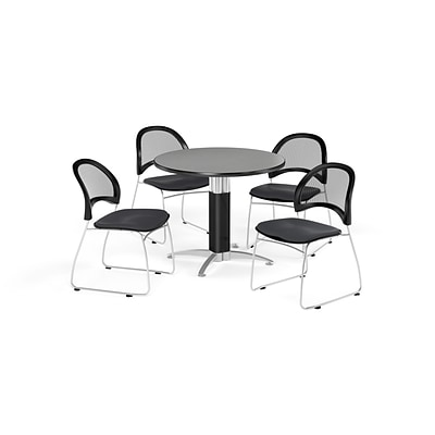 OFM 36 Round Mesh Base Gray Nebula Table with Four Slate Gray Chairs (PKG-BRK-173-0028)
