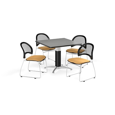 OFM 36 Square Mesh Base Gray Nebula Table with Four Golden Flax Chairs (PKG-BRK-174-0021)