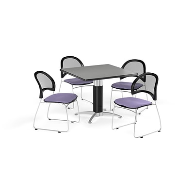 OFM 36 Square Mesh Base Gray Nebula Table with Four Lavender Chairs (PKG-BRK-174-0018)