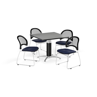 OFM 36 Square Mesh Base Gray Nebula Table with Four Navy Chairs (PKG-BRK-174-0019)