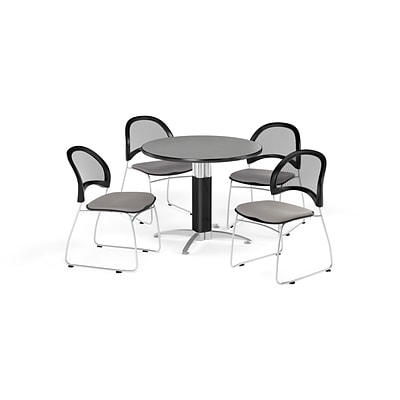 OFM Breakroom Package  42 Round Mesh Base Gray Nebula Table and Four Putty Chairs (845123087213)