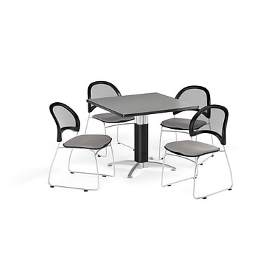 OFM Breakroom Package  42 Square Mesh Base Gray Nebula Table and Four Putty Chairs (845123087855)