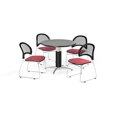 OFM Breakroom Package  42 Round Mesh Base Gray Nebula Table and Four Coral Pink Chairs (845123087152)