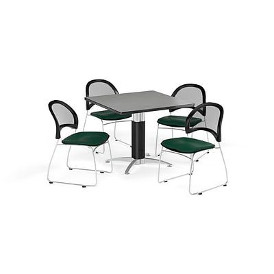 OFM Breakroom Package  42 Square Mesh Base Gray Nebula Table and Four Forest Green Chairs (845123087862)