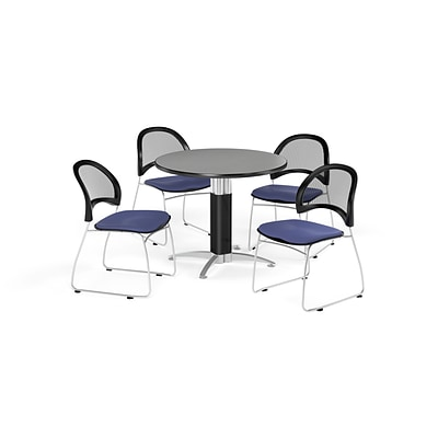 OFM Breakroom Package  42 Round Mesh Base Gray Nebula Table and Four Colonial Blue Chairs (845123087114)