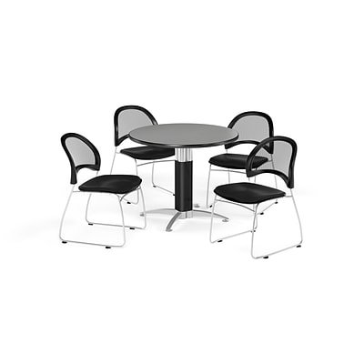 OFM Breakroom Package  42 Round Mesh Base Gray Nebula Table and Four Black Chairs (845123087237)