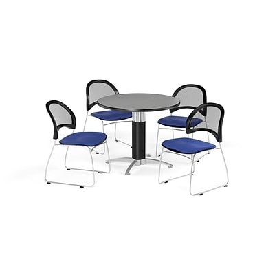 OFM Breakroom Package  42 Round Mesh Base Gray Nebula Table and Four Royal Blue Chairs (845123087176)