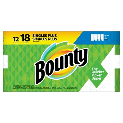 Bounty Select-A-Size Kitchen Rolls Paper Towels, 2-Ply, 83 Sheets/Roll, 12 Rolls/Carton (74795/95026)