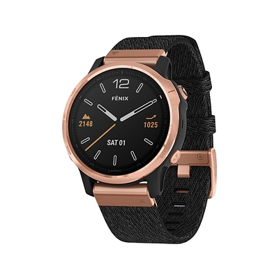 Garmin fenix 6S Sapphire Multisport GPS Watch, Rose Gold-Tone with Heathered Black Nylon Band, North (010-02159-36)