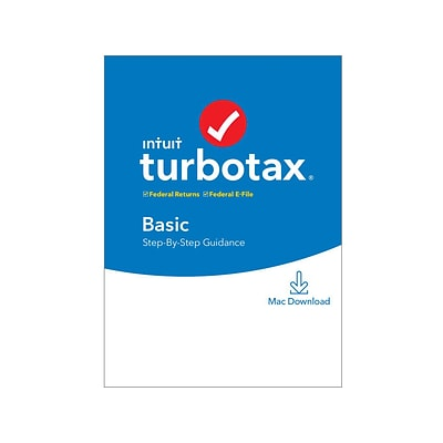 Intuit TurboTax Basic Fed and E-File 2019 for 1 User, Mac, Download (0607288)