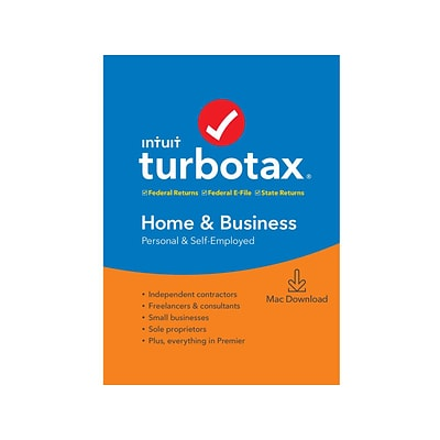 Intuit TurboTax Home and Business Fed, E-File, and State 2019 for 1 User, Mac, Download (0607328)