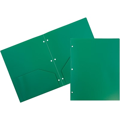 JAM Paper Heavy Duty Plastic 3 Hole Punch Two-Pocket School Folders, Green, 6/Pack (383HHPGRB)
