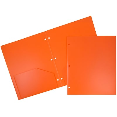 JAM Paper Heavy Duty Plastic 3 Hole Punch Two-Pocket School Folders, Orange, 6/Pack (383HHPORB)