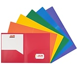 JAM Paper Heavy Duty 2-Pocket Presentation Folders, Assorted Colors, 6/Pack (383Hrgbyop)