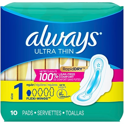 Always Ultra Thin Size 1 Regular Pads With Wings Unscented, 10 Count (34966)