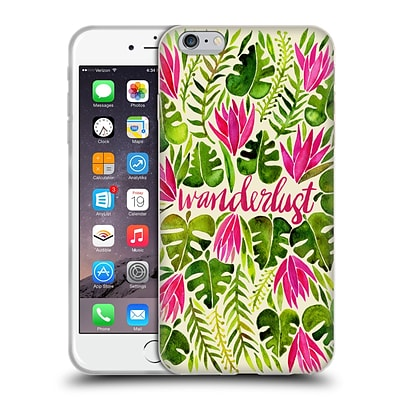 OFFICIAL CAT COQUILLETTE QUOTES TYPOGRAPHY 5 Wanderlust Pink Lime Soft Gel Case for Apple iPhone 6 Plus / 6s Plus
