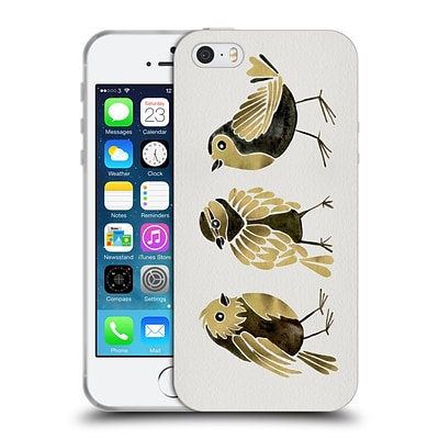 OFFICIAL CAT COQUILLETTE BIRDS Finches Gold Soft Gel Case for Apple iPhone 5 / 5s / SE