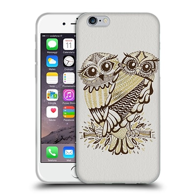 OFFICIAL CAT COQUILLETTE BIRDS Owls Brown Gold Soft Gel Case for Apple iPhone 6 / 6s