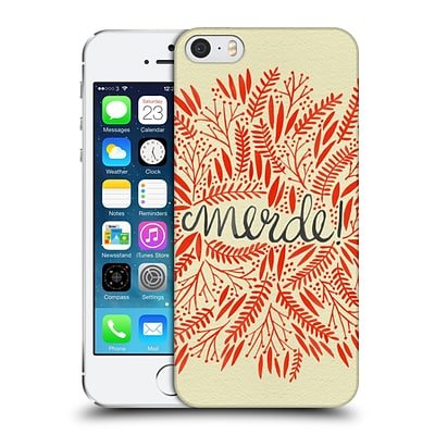 OFFICIAL CAT COQUILLETTE QUOTES TYPOGRAPHY 4 Merde Red Hard Back Case for Apple iPhone 5 / 5s / SE