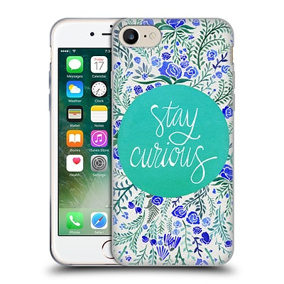 OFFICIAL CAT COQUILLETTE QUOTES TYPOGRAPHY 4 Stay Curious Turquoise Soft Gel Case for Apple iPhone 7