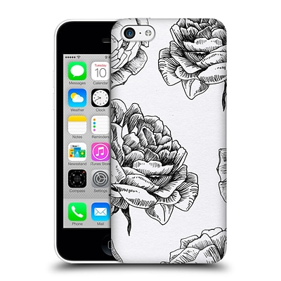 OFFICIAL CAITLIN WORKMAN BLACK AND WHITE Roses Hard Back Case for Apple iPhone 5c