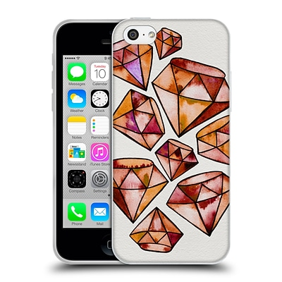 OFFICIAL CAT COQUILLETTE WATERCOLOURED GEMS Orange Tattoo Diamonds Soft Gel Case for Apple iPhone 5c