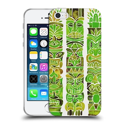 OFFICIAL CAT COQUILLETTE WATERCOLOUR ILLUSTRATIONS 2 Green Tiki Totems Soft Gel Case for Apple iPhone 5 / 5s / SE